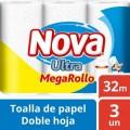 TOALLA NOVA ULTRA MEGA 3 ROLLOS 32 METROS
